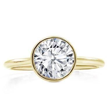 Bezel set solitaire engagement ring setting at Adiamor