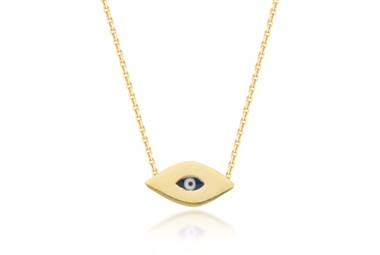 Mini evil eye pendant in 14K yellow gold at Ritani
