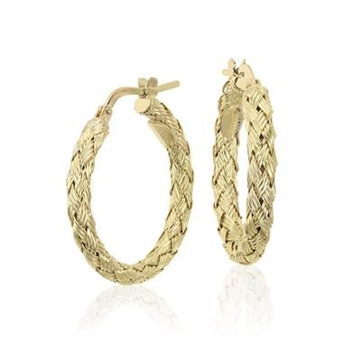 Braided hoop earrings set in 18K yellow gold at Blue Nile