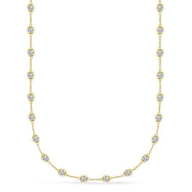 Diamond station necklace in 18K yellow gold at B2C Jewels