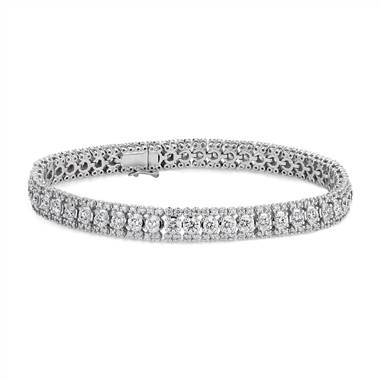 Diamond triple row tennis bracelet set in 14K white gold at Blue Nile