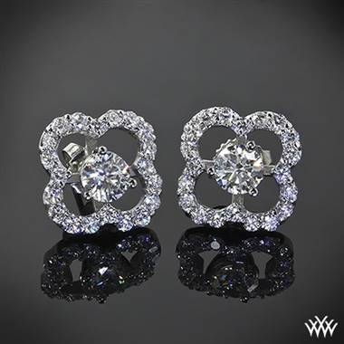 Large clover diamond earring jackets set in 18K white gold at Whiteflash