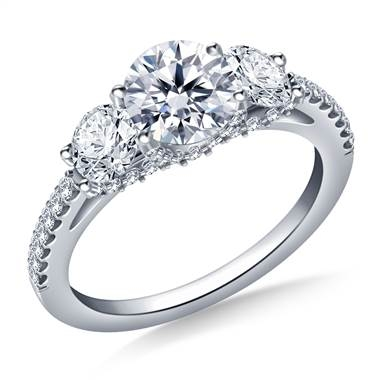 Three stone diamond engagement ring with diamond accents set in 18K white gold at B2C Jewels