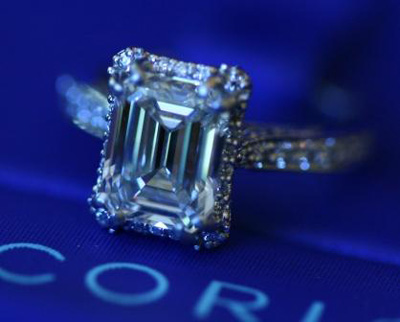 Tacori Diamond Ring with Emerald Cut