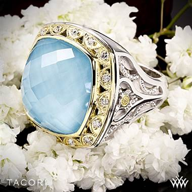 Tacori SR101Y05 Barbados Blue Clear Quartz over Neolite Turquoise and Diamond Ring in Sterling Silver with 18k Yellow Gold Accents