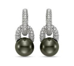 Tahitian Cultured Pearl and Diamond Loop Drop Earrings (9mm) - in 18kt White Gold - (0.75 CTW)