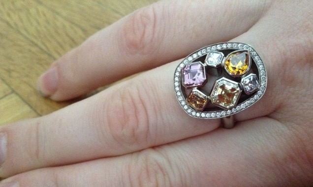 Mariedtiger's FancyColored Diamonds ring hand shot