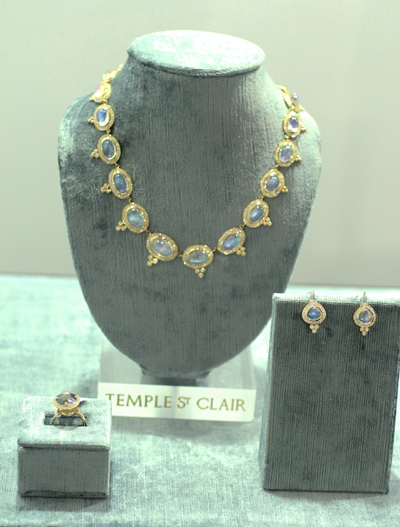 Temple St. Clair moonstone earrings and ring JCK Luxury Elite Enclave 2011