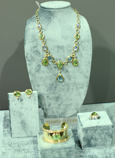 Temple St. Clair peridot aquamarine and moonstone necklace with peridot cuff ring and earrings JCK Luxury Elite Enclave 2011