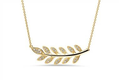 Diamond Leaf Pendant - in 14kt Yellow Gold at Ritani