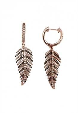 14K Rose Gold Cognac & White Diamond Leaf Earrings at EFFY