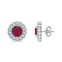 14K White Gold Round Ruby and Diamond Stud Earrings with Scalloped Halo at B2C Jewels