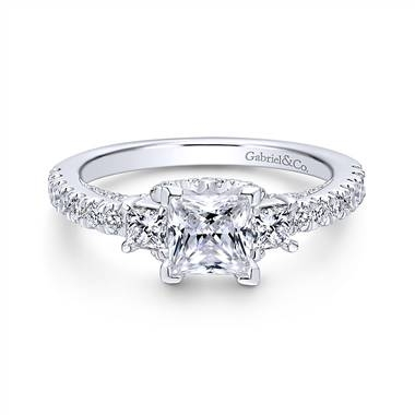 Diamond three stone engagement ring in 14K white gold at Gabriel & Co.