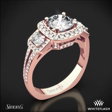 Simon G. passion halo three stone engagement ring in 18K rose gold at Whiteflash