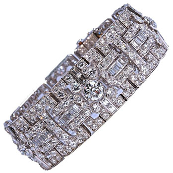 Tiffany & Co. wide Art Deco diamond bracelet - circa 1925