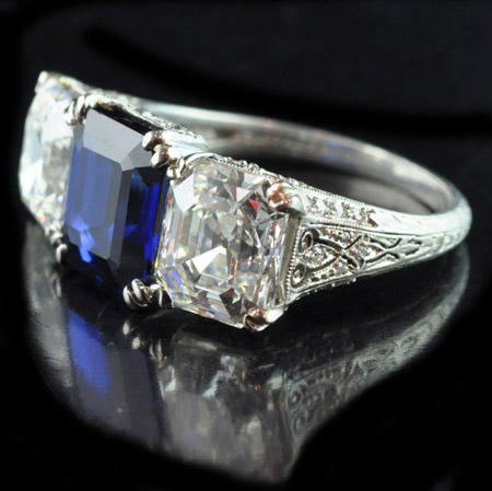 Art Deco Tiffany & Co. sapphire and diamond ring from Hancocks