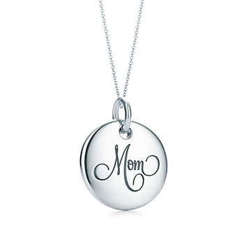 Tiffany Notes Mom disc charm and chaine