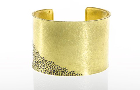 Todd Reed 18k gold cuff with black diamonds