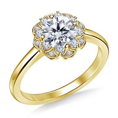 Floral halo petite diamond engagement ring in 14K yellow gold at B2C Jewels