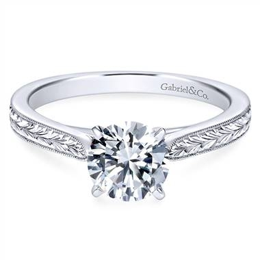 Straight milgrain and hand etched engagement ring set in 14K white gold at Gabriel & Co.
