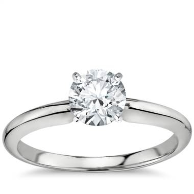 Classic six prong solitaire engagement ring in 18K white gold at Blue Nile