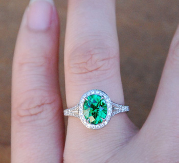 Tsavorite Garnet Diamond Halo Ring