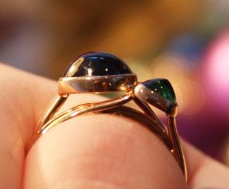 tsavorite garnet gold stack ring