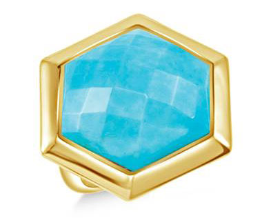 Turquoise Faceted Gemstone Geometric Ring in 18K Yellow Vermeil (22 mm)