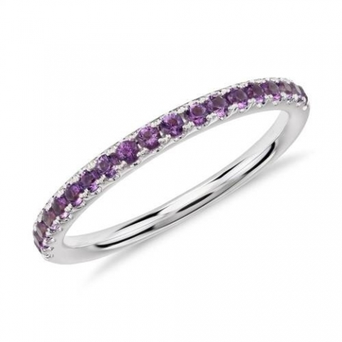 Riviera Pave Amethyst Ring in 14k White Gold at Blue Nile