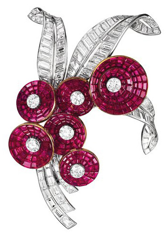 Van Cleef & Arpels Bouquet brooch in platinum rubies and diamonds
