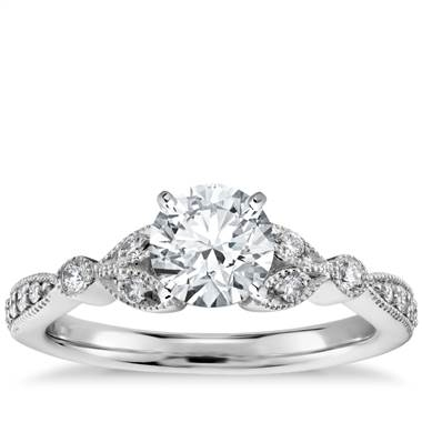 Petite vintage pave leaf diamond engagement ring set in 14K white gold at Blue Nile