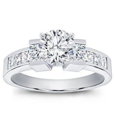 Princess cut engagement setting at Adiamor (
