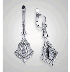 Victor Canera Kite Shaped Pave Dangle Earrings
