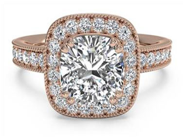 Vintage Cushion Halo Diamond Band Engagement Ring with Surprise Diamonds - in 18kt Rose Gold (0.41 CTW)