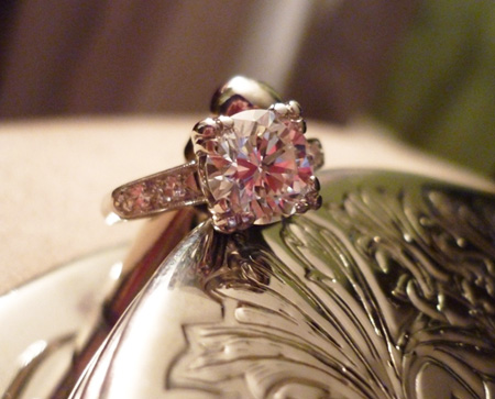 Diamond engagement ring in vintage setting