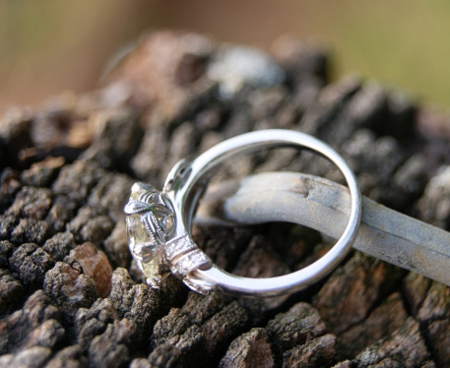 profile shot of vintage style diamond ring
