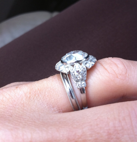 Vintage style diamond engagement ring with heirloom wedding band