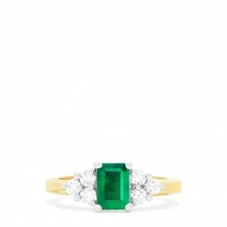 Get Inspired: Brasilica two-tone emerald and diamond ring set in 14K yellow gold at EFFY