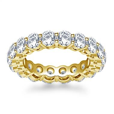 Timeless prong set round diamond eternity ring set in 18K yellow gold at B2C Jewels