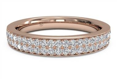 Women's double micropave diamond wedding ring in 18K rose gold at Ritani