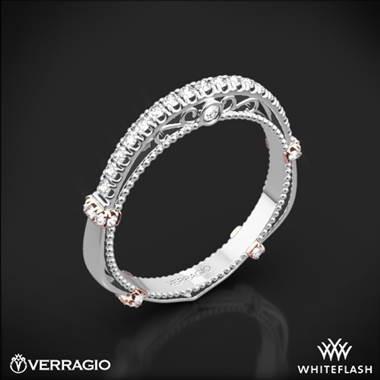 Verragio Parisian diamond wedding ring set in platinum with rose gold wraps at Whiteflash