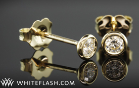 Bezel Diamond Stud Earrings