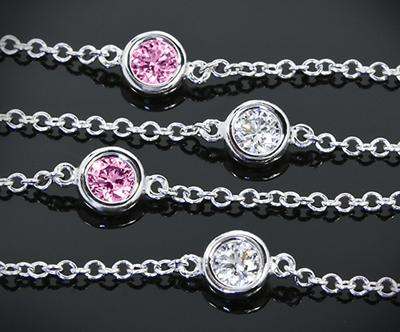 Whiteflash pink sapphire and diamond bracelet from Color Me Mine Collection