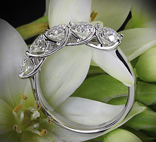 Whiteflash signature 5-stone diamond trellis ring