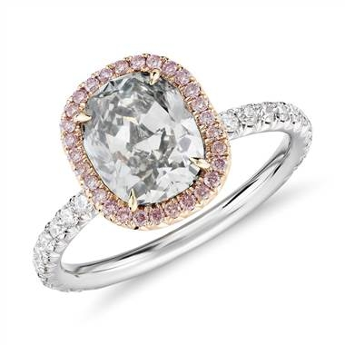 Fancy light grey-green cushion cut halo diamond ring set in platinum and 18K rose gold at Blue Nile