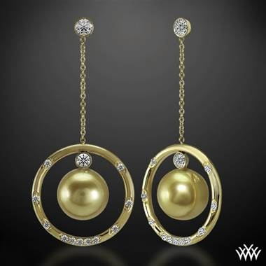 Golden pearl and champagne diamond earrings set in 18K yellow gold at Whiteflash