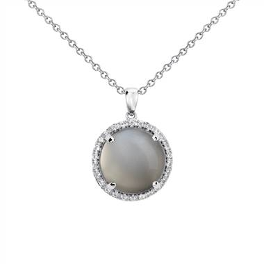Gray moonstone round pendant set in sterling silver at Blue Nile