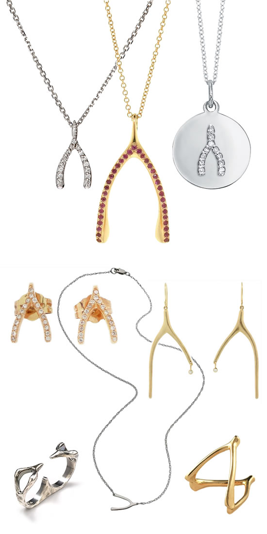 Wishbone Necklaces, earrings and rings