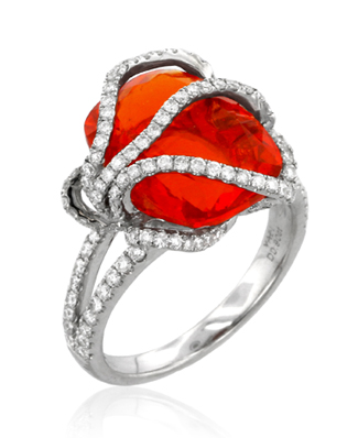 Yael Designs Lyra Collection Opal and Diamond Ring, 2012 AGTA Spectrum Award Winner