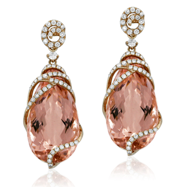 Yael Designs Lyra Collection Morganite and Diamond Earrings